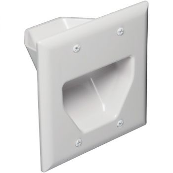 DATACOMM ELECTRONICS 45-0002-WH 2-Gang Recessed Low-Voltage Cable Plate (White)