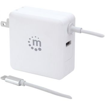 Manhattan 180245 60-Watt Power Delivery Wall Charger with Built-in USB-C Cable (White)