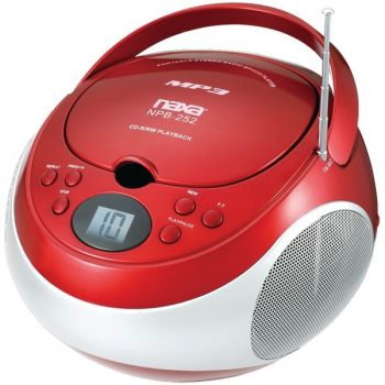 NAXA(R) NPB252RD Portable CD/MP3 Players with AM/FM Stereo (Red)