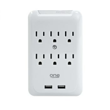 ONE Power PWS621 6-Outlet Surge Protection Wall Tap with 2 USB Ports