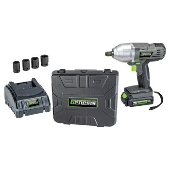 Genesis GLIW20AK 20-Volt Li-Ion Cordless Impact Wrench Kit with Charger, Battery, Sockets, and Storage Case