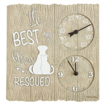 Taylor Precision Products 5265975 14-Inch Clock with Thermometer (Pet Rescue)