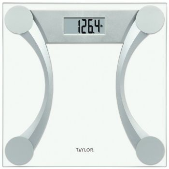 Taylor Precision Products 76024192 Instant Read 400-lb Capacity Glass and Metallic Bathroom Scale