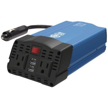 Tripp Lite PV375USB 375-Watt-Continuous PowerVerter Ultracompact Car Inverter with USB & Battery Cables