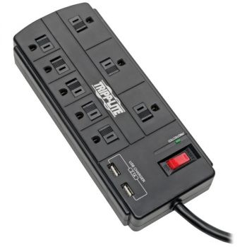Tripp Lite TLP88USBB Protect It! 8-Outlet Surge Protector with 2 USB Ports, 8ft Cord (Without Telephone/Modem)