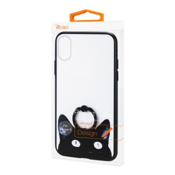 REIKO iPhone X/iPhone XS CAT DESIGN CASE WITH ROTATING RING STAND HOLDER DTPU03-IPHONEXCAT2