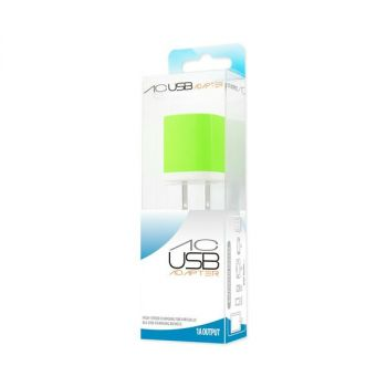 REIKO 1 AMP WALL USB TRAVEL ADAPTER CHARGER IN GREEN TC200-1A5VGR