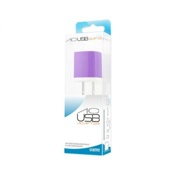 REIKO 1 AMP WALL USB TRAVEL ADAPTER CHARGER IN PURPLE TC200-1A5VPP