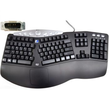Adesso 124-154977-001 Tru-Form Media Ergonomic Keyboard - 113 Key Layout -  Power Magnet Keys - 63-inch Cable Length - API Security Rated - Tempest 4 Pin Interface