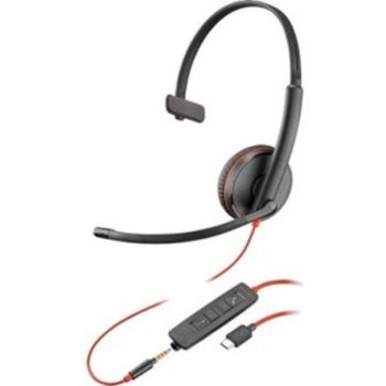 Plantronics Blackwire C3215 Headset - Mono - USB Type C, Mini-phone (3.5mm) - Wired - 20 Hz - 20 kHz - Over-the-head - Monaural - Supra-aural - Noise Cancelling Microphone - Black