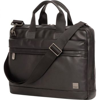Knomo Foster Carrying Case (Briefcase) for 14 Notebook - Black - Full Grain Leather - Shoulder Strap, Handle - 10.6 Height x 14.6 Width x 3 Depth