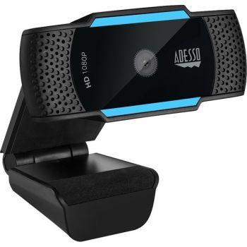 Adesso CyberTrack H5 1080P Webcam - 2.1 Megapixel - 30 fps - USB 2.0 - Auto Focus - Built-In MIC - Tripod Mount - Privacy Shutter Cover - 1920 x 1080 Video - Works with Zoom, Webex, Skype, Team, Facetime, Windows, MacOS, and Android Chrome OS