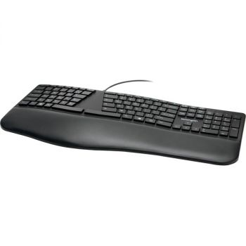 Kensington Pro Fit Ergo Wired Keyboard - Cable Connectivity - USB Type A Interface - Windows, Chrome OS, Mac OS - Black