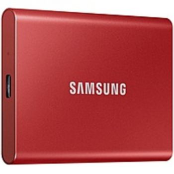 Samsung MU-PC1T0R/AM T7 1 TB Portable Solid State Drive - External - PCI Express NVMe - Metallic Red - Gaming Console, Desktop PC, Smartphone, Tablet Device Supported - USB 3.2 (Gen 2) Type C - 1050 MB/s Maximum Read Transfer Rate - 256-bit Encryption Sta