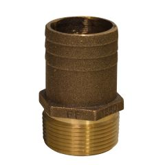 """GROCO 1-1/4"""" NPT x 1-1/2"""" Bronze Full Flow Pipe to Hose Straight Fitting"""