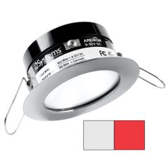 i2Systems Apeiron PRO A503 - 3W Spring Mount Light - Round - Cool White & Red - Brushed Nickel Finish