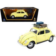 1967 Volkswagen Beetle with Roof Rack and Luggage Yellow 1/18 Diecast Model Car by Road Signature 92078y