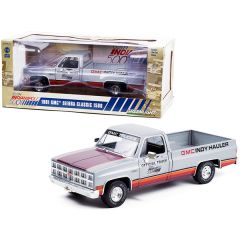 1981 GMC Sierra Classic 1500 Pickup Truck Silver with Stripes 65th Annual Indianapolis 500 Mile Race Official Truck 1/18 Diecast Model Car by Greenlight 13563