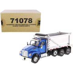 Kenworth T880S SFFA Tandem Axle with Pusher Axle OX Stampede Dump Truck Blue and Chrome Transport Series 1/50 Diecast Model by Diecast Masters 71078