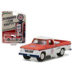 1962 Dodge D-100 Pickup Truck Long Bed with Tool Box Red Crown Gasoline 1/64 Diecast Model Car by Greenlight 41020A