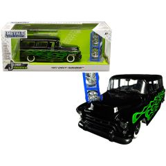 1957 Chevrolet Suburban Black with Green Flames and Extra Wheels Just Trucks Series 1/24 Diecast Model Car by Jada 97821