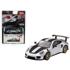 Porsche 911 GT2 RS Weissach Package GT Silver Metallic with Carbon Stripes Limited Edition to 3,600 pieces Worldwide 1/64 Diecast Model Car by True Scale Miniatures MGT00063