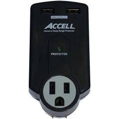Accell D080B-011K Home or Away Power Station 3-Outlet Travel Surge Protector (Black)