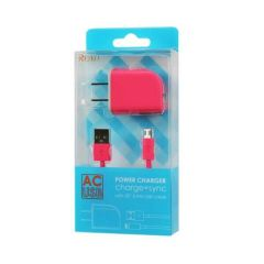 REIKO MICRO USB 1 AMP PORTABLE MICRO TRAVEL ADAPTER CHARGER WITH CABLE IN HOT PINK TC09-MICROHPK