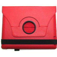 eForCity PAPPIPADLC44 Protective Carrying Folio Case for iPad - Red - Scratch Proof - Synthetic Leather - 0.8