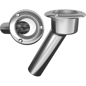 Mate Series Stainless Steel 30° Rod & Cup Holder - Open - Round Top