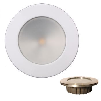 "Lunasea Gen3 Warm White, RGBW Full Color 3.5"" IP65 Recessed Light w/White Stainless Steel Bezel - 12VDC"
