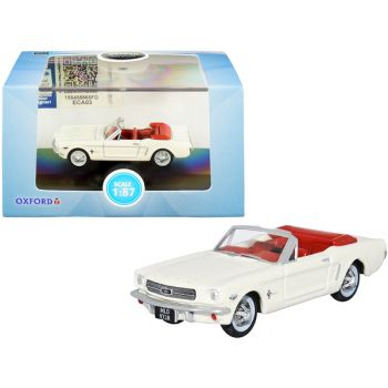 1965 Ford Mustang Convertible Wimbledon White (Goldfinger) with Red Interior 1/87 (HO) Scale Diecast Model Car by Oxford Diecast 87MU65005