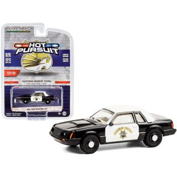 1982 Ford Mustang SSP Black and White CHP California Highway Patrol Hot Pursuit Series 36 1/64 Diecast Model Car by Greenlight 42930C