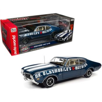 1969 Oldsmobile 442 W-30 Coupe Dr. Oldsmobile\'s W-Machine Trophy Blue Metallic with White Stripes Muscle Car & Corvette Nationals (MCACN) 1/18 Diecast Model Car by Autoworld AMM1235