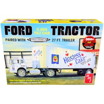 Skill 3 Model Kit Ford C-900 Truck with Trailmobile Trailer Hostess 1/25 Scale Model by AMT AMT1221