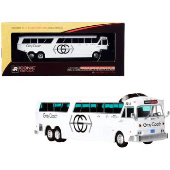 MCI MC-7 Challenger Intercity Coach Bus White Gray Coach Toronto - Guelph (Canada) Vintage Bus & Motorcoach Collection 1/87 (HO) Diecast Model by Iconic Replicas 87-0270