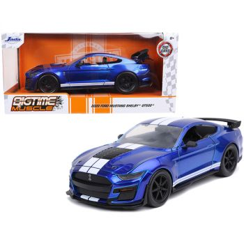 2020 Ford Mustang Shelby GT500 Candy Blue with White Stripes Bigtime Muscle 1/24 Diecast Model Car by Jada 32409