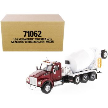 Kenworth T880 SFFA with McNeilus Bridgemaster Mixer Truck Radiant Red and White 1/50 Diecast Model by Diecast Masters 71062