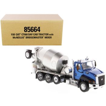 CAT Caterpillar CT660 Day Cab Tractor with McNeilus Concrete Mixer Truck Blue Metallic 1/50 Diecast Model by Diecast Masters 85664