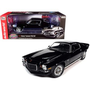 1971 Chevrolet Camaro RS/SS Tuxedo Black Muscle Car & Corvette Nationals (MCACN) American Muscle 30th Anniversary 1/18 Diecast Model Car by Autoworld AMM1250