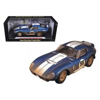 1965 Shelby Cobra Daytona #98 Blue with White Stripes After Race (Dirty Version) 1/18 Diecast Model Car by Shelby Collectibles SC133