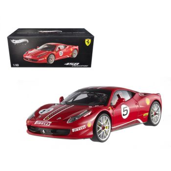 Ferrari 458 Italia Challenge Red #5 Elite Edition Limited Edition 1/18 Diecast Model Car by Hotwheels X5486