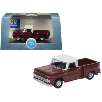 1965 Chevrolet C10 Stepside Pickup Truck Metallic Maroon with White Top 1/87 (HO) Scale Diecast Model Car by Oxford Diecast 87CP65003