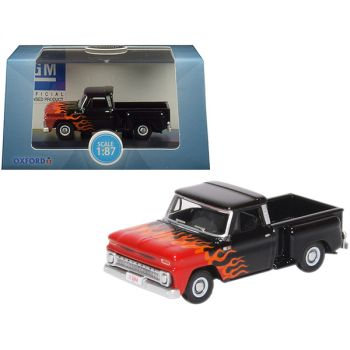 1965 Chevrolet C10 Stepside Pickup Truck Black with Flames Hot Rod 1/87 (HO) Scale Diecast Model Car by Oxford Diecast 87CP65004