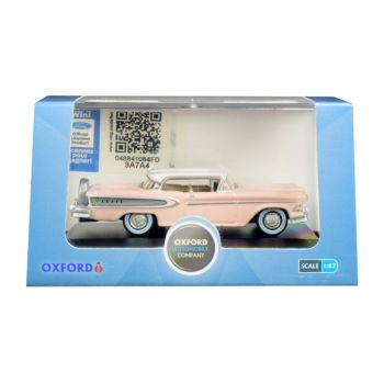 1958 Edsel Citation Chalk Pink with Frost White Top 1/87 (HO) Scale Diecast Model Car by Oxford Diecast 87ED58003