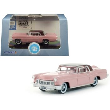 1956 Lincoln Continental Mark II Pink with Dubonnet Red Top 1/87 (HO) Scale Diecast Model Car by Oxford Diecast 87LC56002