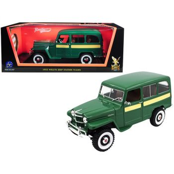 1955 Willys Jeep Station Wagon Green with Yellow Stripes 1/18 Diecast Model Car by Road Signature 92858grn