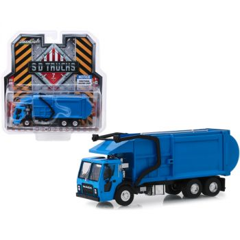 2019 Mack LR Refuse and Recycle Garbage Truck Blue S.D. Trucks Series 7 1/64 Diecast Model by Greenlight 45070C