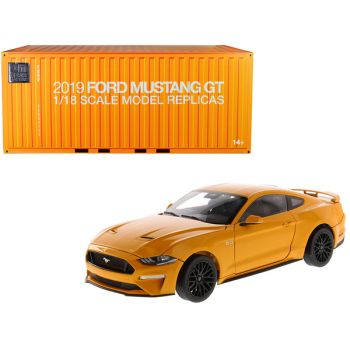 2019 Ford Mustang GT 5.0 Coupe Orange Fury Metallic 1/18 Diecast Model Car by Diecast Masters 61001