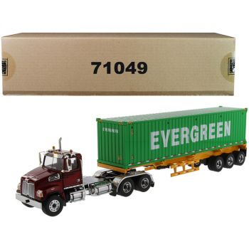 Western Star 4700 SB Tandem Truck Tractor Metallic Red with Skeleton Trailer and 40\' Dry Goods Sea Container EverGreen Transport Series 1/50 Diecast Model by Diecast Masters 71049